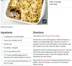 Chili-Corn Casserole  http://www.foodnetwork.com/recipes/food-network-kitchens/chili-corn-casserole-recipe.html