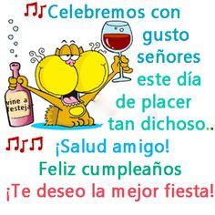 Imagen de feliz cumpleaños amigo, te deseo la mejor fiesta, meme de felicitaciones.