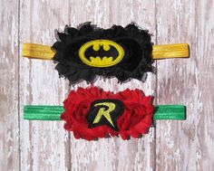 Batman and Robin Headband Set...Other Colors by Zobows on Etsy, $12.00