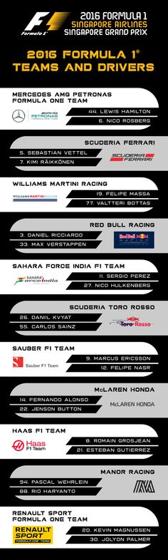 2016 f1 drivers line up