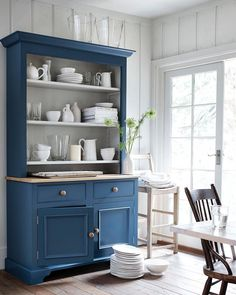 Show off your seashell collection on the Chichester open-rack dresser in Blakeney Blue, from The painted-wood kitchen… Kitchen Dresser, Kitchen Paint, Kitchen Furniture, New Kitchen, Dining Room Dresser, Paint Furniture, Furniture Makeover, Furniture Ideas, Dining Room Bar