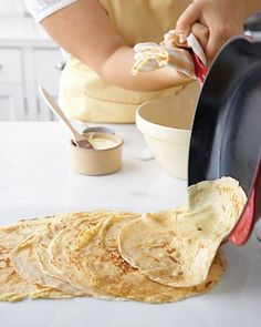 is for Crepes. I love Crepes! Our parents used to make Crepes for us when we were kids and they always seemed like a really special treat . Crepe Recipes, Brunch Recipes, Breakfast Recipes, Dessert Recipes, Desserts, Drink Recipes, Basic Crepe Recipe Martha Stewart, Martha Stewart Recipes, Crepes Recipe Martha Stewart