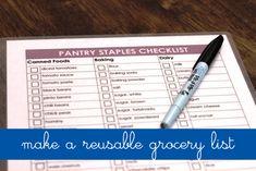 Make a Reusable Grocery List Life as MOM ~~ Print and laminate a grocery list to make it reusable.  Love this idea!