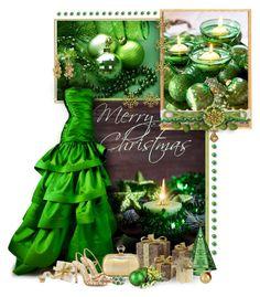 """Green Christmas"" by sagramora ❤ liked on Polyvore featuring Reem Acra, Diane Von Furstenberg, Pier 1 Imports, Aurélie Bidermann, Baccarat and Lumière"