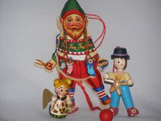 Vintage 70s Wooden Character Christmas Ornaments 3 by parkie2, $8.65
