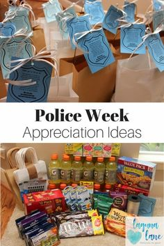 During National Police Week in May, show law enforcement how grateful you are for their service! Check out these great Police Week appreciation ideas, including creating law enforcement appreciation bags. Free printable tags are included! Police Girlfriend, Police Wife Life, Police Officer Gifts, Police Gifts, Nurse Gifts, Robin, Blessing Bags, National Police, Staff Appreciation