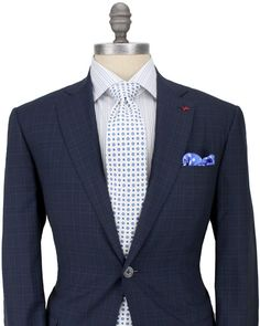 Isaia - Navy Glen Plaid with Blue Check Suit