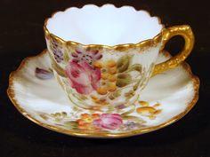 Tasse & sous-tasse porcelaine fine Limoges XIX° M Redon, fleurs & or fin signées
