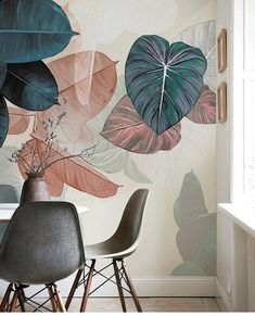 Fresh Simple Watercolor Green Leaves Wallpaper, Big Leaves Green Plant Wall Mural, Wall Art, Living and Dinning Room Wall Paper - интерьер - Green Leaf Wallpaper, Leaves Wallpaper, Interior Design Living Room, Living Room Decor, Fleur Design, Mural Wall Art, Room Wall Painting, Room Wallpaper, Large Wall Art