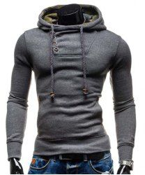 Oblique Button Patched Splicing Slimming Hooded Long Sleeve Modish Cotton Blend Hoodie For Men in Gray | Sammydress.com Mobile