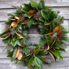 Southern Magnolia Wreath 24 inch. $60.00, via Etsy.