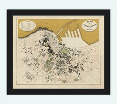 Old Map of Casablanca Morocco 1920  Vintage Map by OldCityPrints, $29.00