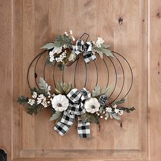 This Metal Pumpkin and Buffalo Check Bow Wall Hanger is perfect for fall. The greenery and cream pumpkins are a nice change from traditional orange fall decor. Dollar Tree Pumpkins, Dollar Tree Fall, Dollar Tree Decor, Dollar Tree Crafts, Metal Pumpkins, Fall Pumpkins, White Pumpkins, Buffalo Check, Harvest Decorations