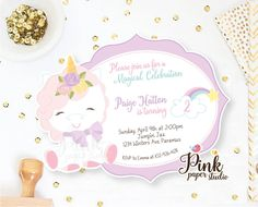 Unicorn Invitation • Rainbow Unicorn Birthday Invite • Magical Birthday Invitation • Unicorn Birthday Invitation (Set of 2) de PinkPaperStudioMiami en Etsy https://www.etsy.com/es/listing/515961051/unicorn-invitation-rainbow-unicorn