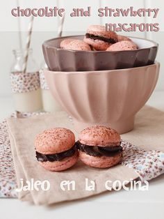 Chocolate and Strawberry Macarons by Thinkarete, via Flickr