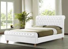 New Richmond Chesterfield Super King Size White Leather Sleigh Bed Frame Leather King Size Bed, White King Size Bed, Leather Double Bed, Super King Size Bed, King Size Bed Frame, White Leather, Box Bed Frame, Sleigh Bed Frame, Full Bed Frame