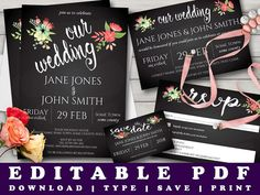Watercolour Flowers Chalkboard Wedding Invitation Set by Prandski