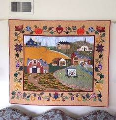 Americana by Janet Beyea Quilting Projects, Quilting Designs, Quilting Ideas, Landscape Art Quilts, Landscapes, Farm Quilt, Country Quilts, Quilt Border, Miniature Quilts