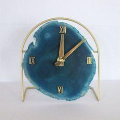 SoLo Agate Clock   Agate Clock on Acrylic/Metal/Gold Base   Agate Clock   Desk Clock   Modern   Boho Chic   Mid Century   Hollywood Regency