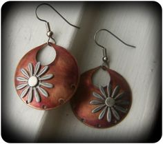 Pink Copper Coin Dangle Earrings by CoccoJewelry