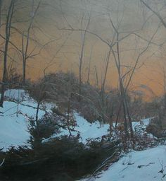 Evening: Winter oil painting by: Kevin Muente