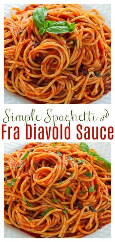 How to make Simple Spaghetti Fra Diavolo with just a handful of simple ingredients! This spicy Italian pasta recipe is always a crowd-pleaser! #spaghetti #spaghettifradiavolo #spicyspaghetti #fradiavolo #easypastarecipes #dinner #Christmasdinner #Italianfood #spaghetti