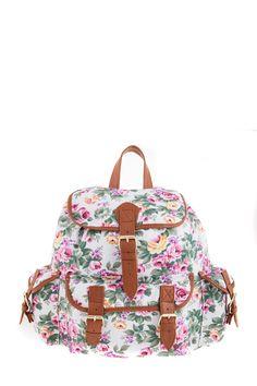1534106610, WHITE, Floral backpack ,Floral σακίδιο πλάτης