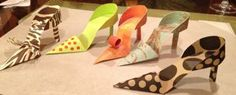 Paper shoes I made to use for a centerpiece at a luncheon for a friend who adores high heels.