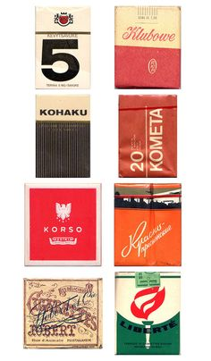 Vintage packaging collection of cigarette packs
