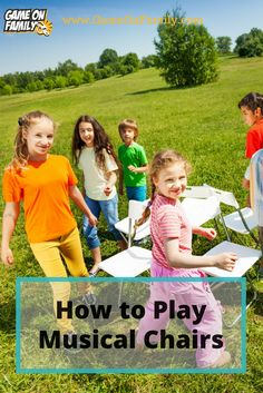 """The best kind of """"charity"""" with hilarity... Musical Chairs!  Learn how to play Musical Chairs via our Musical Chairs game tutorial. Review the rules of Musical Chairs and find your next game at www.GameOnFamily.com! #music #games #kids"""