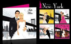 Faire-part de mariage original romantique rétro original drôle portrait – New-York. Wedding invitation card - fun save the date romantic vintage soft pink original New-York  © www.studio-Postscriptum.fr/blog