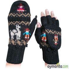 Guantes mitones negro con llamita. 100% lana de alpaca.    Tejido en lana de alpaca fina y suave. La tapa que cubre a los dedos tiene la figura de una indígena aymara, de manera similar en la parte central la figura de una llama y un indio, y los orificios se ajustan suavemente a los dedos. Considerada ropa ecológica. Hecha por la artesana Eva. Disponible en: http://www.aymarita.com/product.php?id_product=54