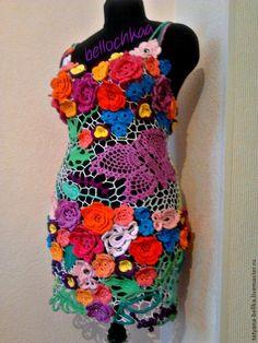 """Купить Вязаное летние платье """"цветочная поляна"""" - разноцветный, цветочный, ирландское кружево, ирландское вязание"""