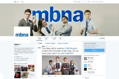 MBNA making great use of the stars of their recent 'payment ninjas' advert to ask customers to vote in the #CMFAwards