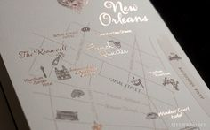 New Orleans map in custom wedding invitation suite  by Atelier Isabey