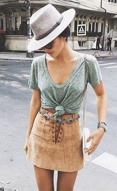 Stylish High-Waisted Strappy Faux Suede A-Line Skirt For Women - Street Fashion