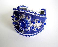 Blue Silver Bracelet  Filigree Bracelet  Vintage by NataliStudio, $35.00