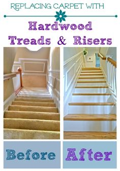 Great tutorial on removing carpet from stairs and installing wood treads and risers. Surprisingly easy to do if you have the right tools! Redo Stairs, House Stairs, Removing Carpet From Stairs, Wood And Carpet Stairs, Stair Renovation, Treads And Risers, Staircase Makeover, Staircase Remodel, Basement Makeover
