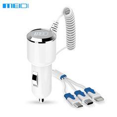 MEIDI Cargador 3 en 1 Cargador de Coche Adaptador Usb Cargador de Coche Con cable usb tipo de carga rápida para samsung iphone5 6 s c puerto de carga