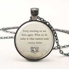 Buddha Quote Necklace, Motivational Wisdom Pendant, Inspirational Yoga Jewelry (1573G1IN)
