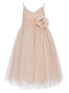 tulle layered pearl pink double straps ankle length flower girl dress