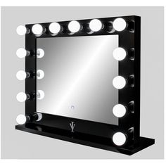 Dimmable Grand Hollywood Lighted Vanity Mirror W Dual Outlets ($309) ❤ liked on Polyvore featuring home, home decor, mirrors, home & living, home décor, silver, adjustable makeup mirror, lit vanity mirror, handmade home decor and lighted mirror
