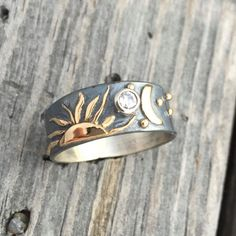 Custom order from customers own gold and her own diamonds. Sun Moon Stars Ring 14K Gold Sterling Silver Diamond or Moissanite Custom Made To Order Wild