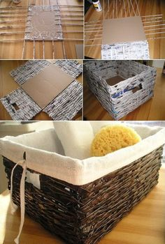 Discover thousands of images about How To: DIY Industrial Coffee Table Diy Home Crafts, Diy Craft Projects, Diy Crafts To Sell, Diy Crafts For Kids, Recycled Paper Crafts, Newspaper Crafts, Diy Storage Boxes, Paper Storage, Paper Basket Weaving
