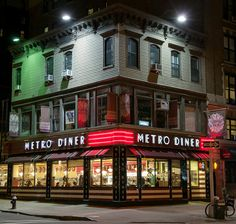 Metro Diner, at Broadway and West 100th Street, is a family-owned diner located on the ground floor of a historic three-story wooden clapboard building built in 1871. It has been in business since 1993.