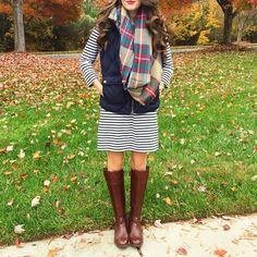 Black/white stripe tee dress + pink J Crew vest + blanket scarf + boots.