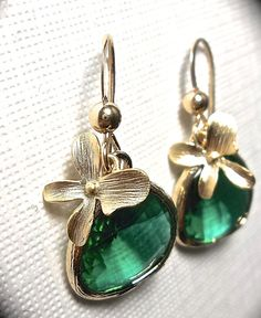 Emerald Earrings  Gold filled  Orchids  by QueenMeJewelryLLC, $31.99