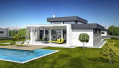 Projekt bungalovu s terasou a galériou Linear vizuál, zrkadlový Promiprojekt Flat Roof House Designs, Small Modern House Plans, House Plans Mansion, Modern Bungalow House, Architectural House Plans, House Layouts, Home Fashion, Mansions, Villa