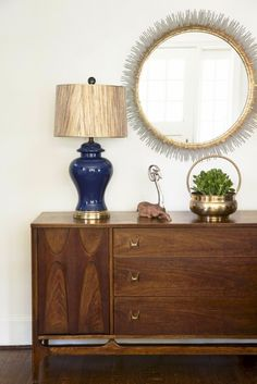 Gentleman's Bachelor Pad by Design Manifest- Credenza with mirror and lamp