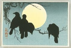 Two of my favorite entities! The reference I have for this image is: Korin Ogata - Crows and the Moon (1920).